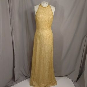 Silk Beaded Gown Gold Yellow Long Sexy Hi Neck 4 S